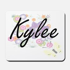 Kylee Artistic Name Design with Flowers Mousepad