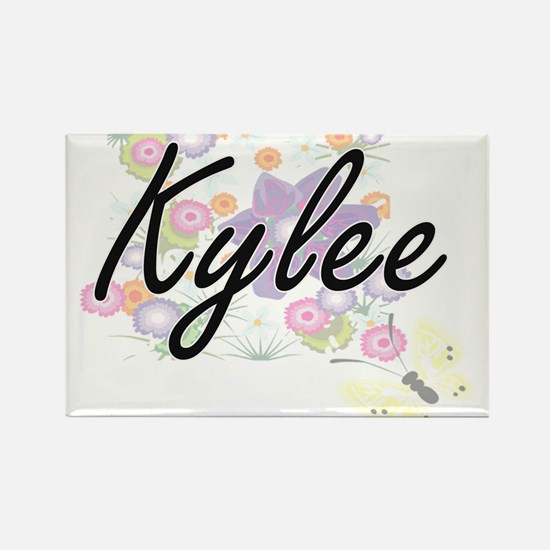 Kylee Artistic Name Design with Flowers Magnets