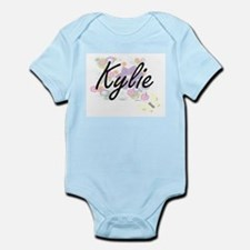 Kylie Artistic Name Design with Flowers Body Suit