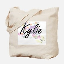 Kylie Artistic Name Design with Flowers Tote Bag