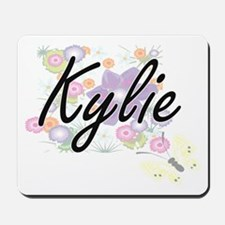 Kylie Artistic Name Design with Flowers Mousepad