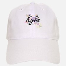 Kylie Artistic Name Design with Flowers Baseball Baseball Cap