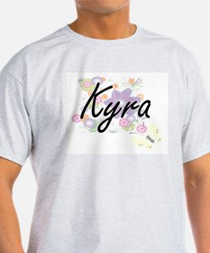 Kyra Artistic Name Design with Flowers T-Shirt