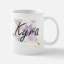 Kyra Artistic Name Design with Flowers Mugs