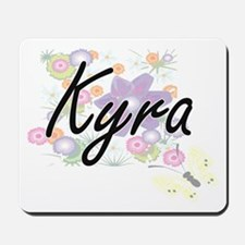 Kyra Artistic Name Design with Flowers Mousepad