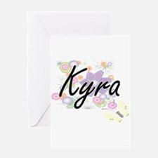Kyra Artistic Name Design with Flow Greeting Cards