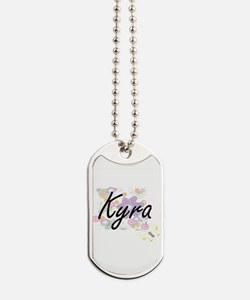 Kyra Artistic Name Design with Flowers Dog Tags