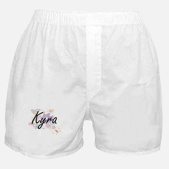 Kyra Artistic Name Design with Flower Boxer Shorts