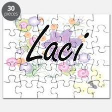 Laci Artistic Name Design with Flowers Puzzle