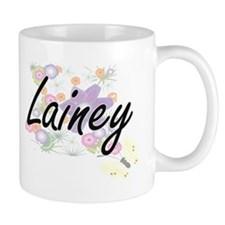 Lainey Artistic Name Design with Flowers Mugs