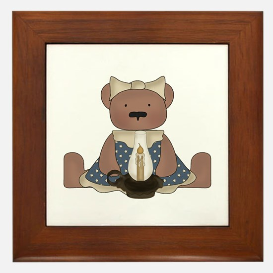 Teddy Bear With Vintage Lamp Framed Tile