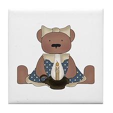 Teddy Bear With Vintage Lamp Tile Coaster