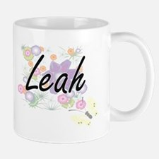 Leah Artistic Name Design with Flowers Mugs