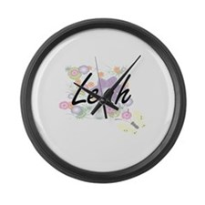 Leah Artistic Name Design with Fl Large Wall Clock