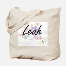 Leah Artistic Name Design with Flowers Tote Bag