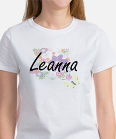Leanna Artistic Name Design with Flowers T-Shirt