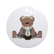 Teddy Bear With Vintage Lamp Ornament (Round)