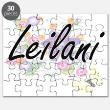 Leilani Artistic Name Design with Flowers Puzzle