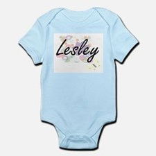 Lesley Artistic Name Design with Flowers Body Suit