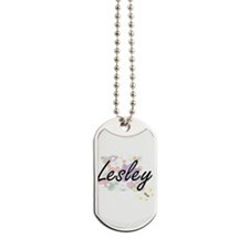 Lesley Artistic Name Design with Flowers Dog Tags