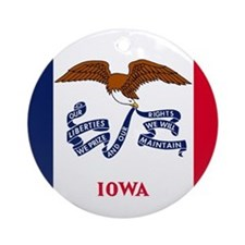 Iowa State Flag Ornament (Round)