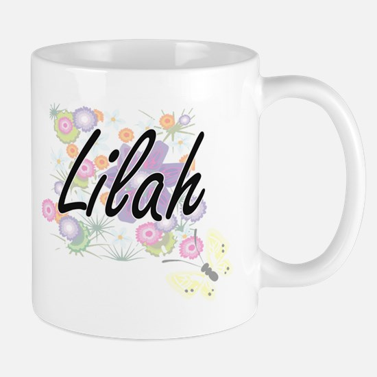 Lilah Artistic Name Design with Flowers Mugs
