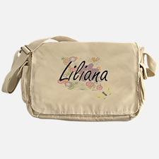 Liliana Artistic Name Design with Fl Messenger Bag