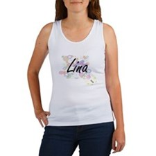 Lina Artistic Name Design with Flowers Tank Top
