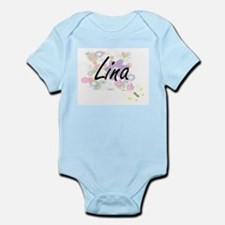 Lina Artistic Name Design with Flowers Body Suit