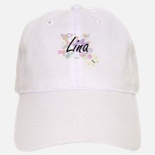 Lina Artistic Name Design with Flowers Baseball Baseball Cap