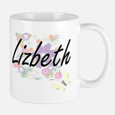 Lizbeth Artistic Name Design with Flowers Mugs