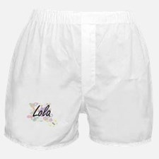 Lola Artistic Name Design with Flower Boxer Shorts