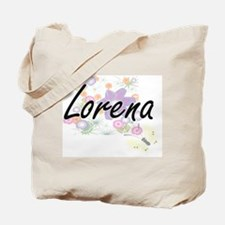 Lorena Artistic Name Design with Flowers Tote Bag