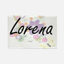 Lorena Artistic Name Design with Flowers Magnets