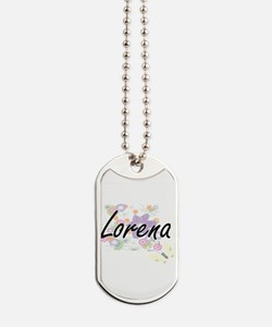 Lorena Artistic Name Design with Flowers Dog Tags