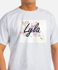 Lyla Artistic Name Design with Flowers T-Shirt