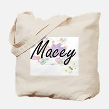 Macey Artistic Name Design with Flowers Tote Bag