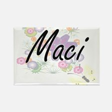 Maci Artistic Name Design with Flowers Magnets