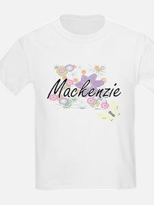 Mackenzie Artistic Name Design with Flower T-Shirt