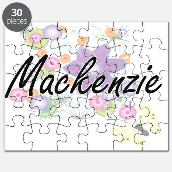 Mackenzie Artistic Name Design with Flowers Puzzle