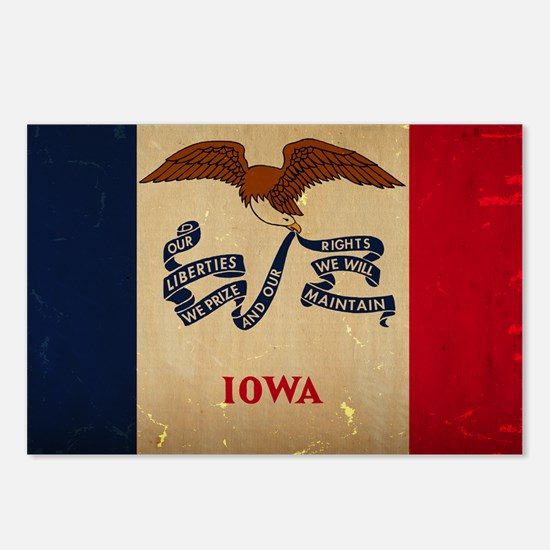 Iowa State Flag VINTAGE Postcards (Package of 8)