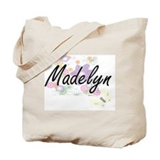 Madelyn Artistic Name Design with Flowers Tote Bag