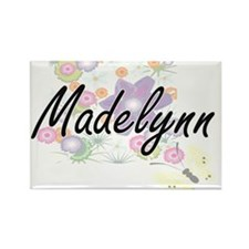 Madelynn Artistic Name Design with Flowers Magnets
