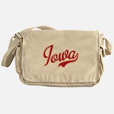 Iowa Script Crimson VINTAGE Messenger Bag