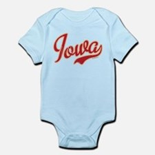 Iowa Script Crimson VINTAGE Infant Bodysuit