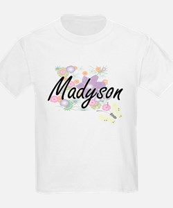 Madyson Artistic Name Design with Flowers T-Shirt