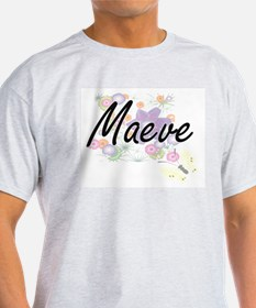 Maeve Artistic Name Design with Flowers T-Shirt