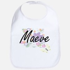 Maeve Artistic Name Design with Flowers Bib