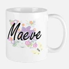Maeve Artistic Name Design with Flowers Mugs