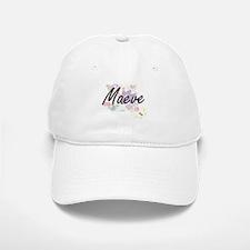 Maeve Artistic Name Design with Flowers Baseball Baseball Cap